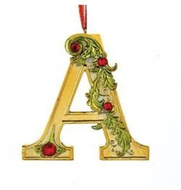 Kurt Adler Gold Initial Ornament w Holly on Red Ribbon Hanger Letter A