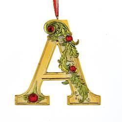 Kurt Adler Gold Initial Ornament w Holly on Red Ribbon Hanger Letter A