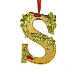 Kurt Adler Gold Initial Ornament w Holly on Red Ribbon Hanger Letter S