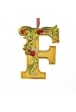 Kurt Adler Gold Initial Ornament w Holly on Red Ribbon Hanger Letter F