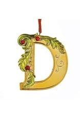 Kurt Adler Gold Initial Ornament w Holly on Red Ribbon Hanger Letter D