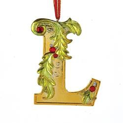 Kurt Adler Gold Initial Ornament w Holly on Red Ribbon Hanger Letter L