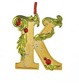 Kurt Adler Gold Initial Ornament w Holly on Red Ribbon Hanger Letter K