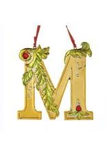 Kurt Adler Gold Initial Ornament w Holly on Red Ribbon Hanger Letter M