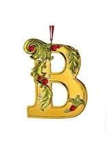Kurt Adler Gold Initial Ornament w Holly on Red Ribbon Hanger Letter B