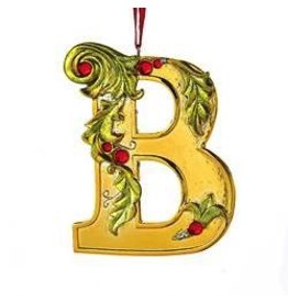 Kurt Adler Gold Initial Ornament w Holly on Red Ribbon Hanger Letter B