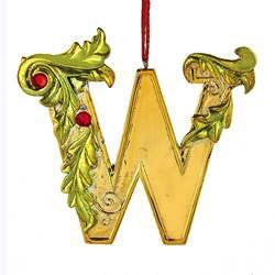 Kurt Adler Gold Initial Ornament w Holly on Red Ribbon Hanger Letter W