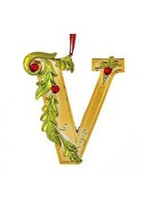 Kurt Adler Gold Initial Ornament w Holly on Red Ribbon Hanger Letter V