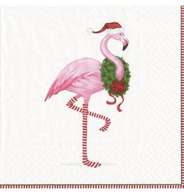 Caspari Paper Cocktail Napkins 40pk Boxed Christmas Flamingo White