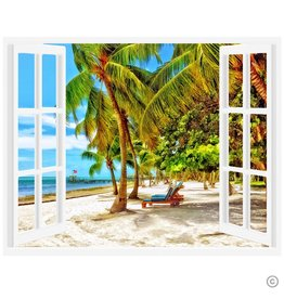 Maureen Terrien Photography Art Print Window of Moorings w Beach Chairs 11x14 Poster