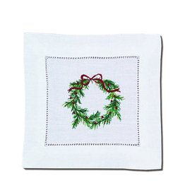 Peking Handicraft Christmas Linen Cocktail Napkins Embroidered Wreath