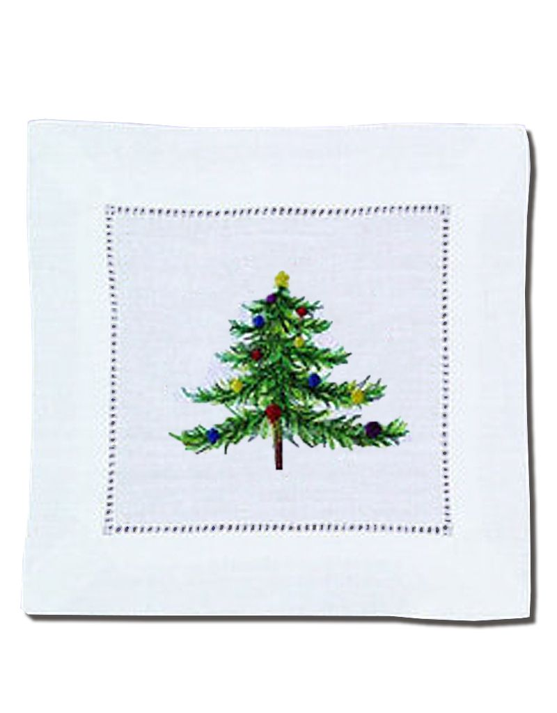 Peking Handicraft Christmas Linen Cocktail Napkins Embroidered Tree