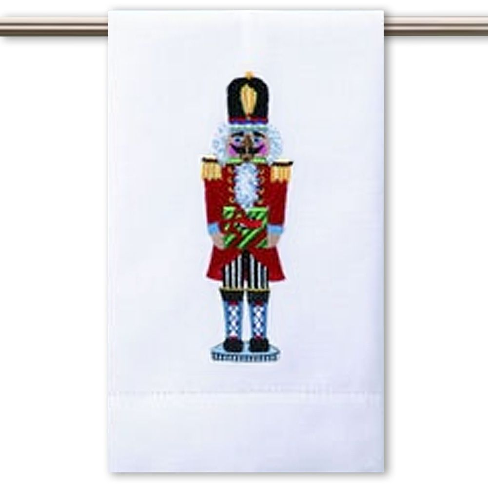 Peking Handicraft Christmas Hand-Guest Towel Nutcracker w Gift 14x22