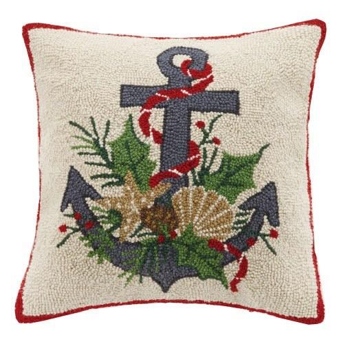 Peking Handicraft Christmas Nautical Coastal Anchor Hook Pillow 18x18