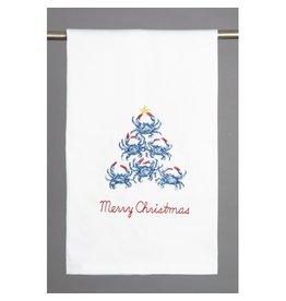 Peking Handicraft Merry Christmas Blue Crab Tree Kitchen Towel 16x25