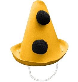 Party Partners Pierrot Style Felt Party Hat w Black Pom Poms - Yellow