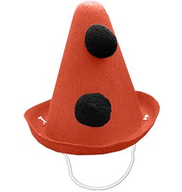 Party Partners Pierrot Style Felt Party Hat w Black Pom Poms - Orange