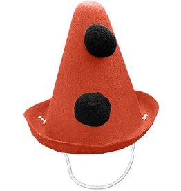 Party Partners Pierrot Style Felt Party Hat w Black Pom Poms - Orange