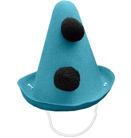 Party Partners Pierrot Style Felt Party Hat w Black Pom Poms - Blue