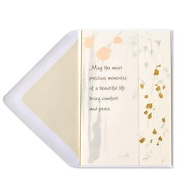 Papyrus Greetings Sympathy Card Comfort and Peace Cascading Leaves