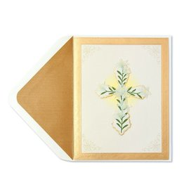 Papyrus Greetings Sympathy Card Handmade Cross with Flowers by Papyrus