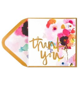 Papyrus Greetings Thank You Card Foil Watercolor Flowers with Gems