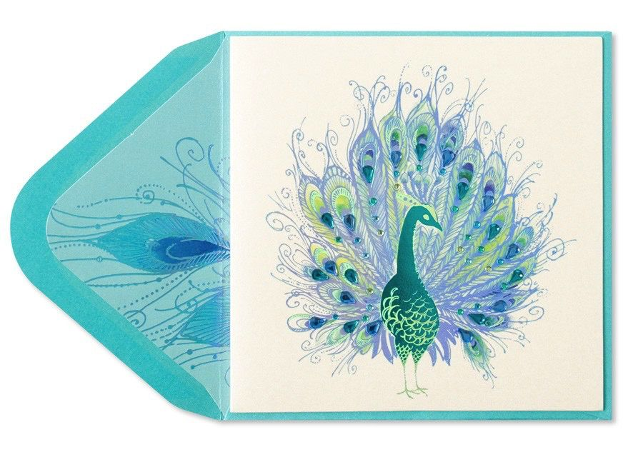 Papyrus Greetings Blank Card Peacock with Gems