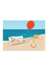 Papyrus Greetings Birthday Card Make a Wish Message in Bottle on Beach