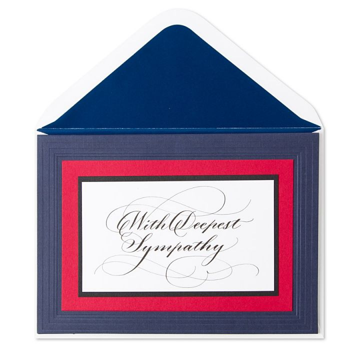 Papyrus Greetings Sympathy Card With Deepest Sympathy Red White Blue