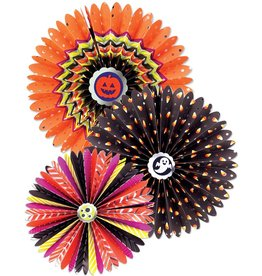 Papyrus Halloween Decorative Fans 3pc Hanging Paper Rosettes Set