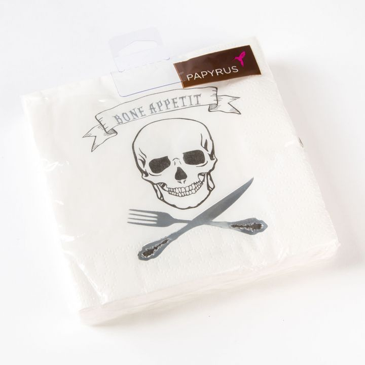 Papyrus Halloween Cocktail Napkins 20pk Bone Appetit Skull Knife Fork
