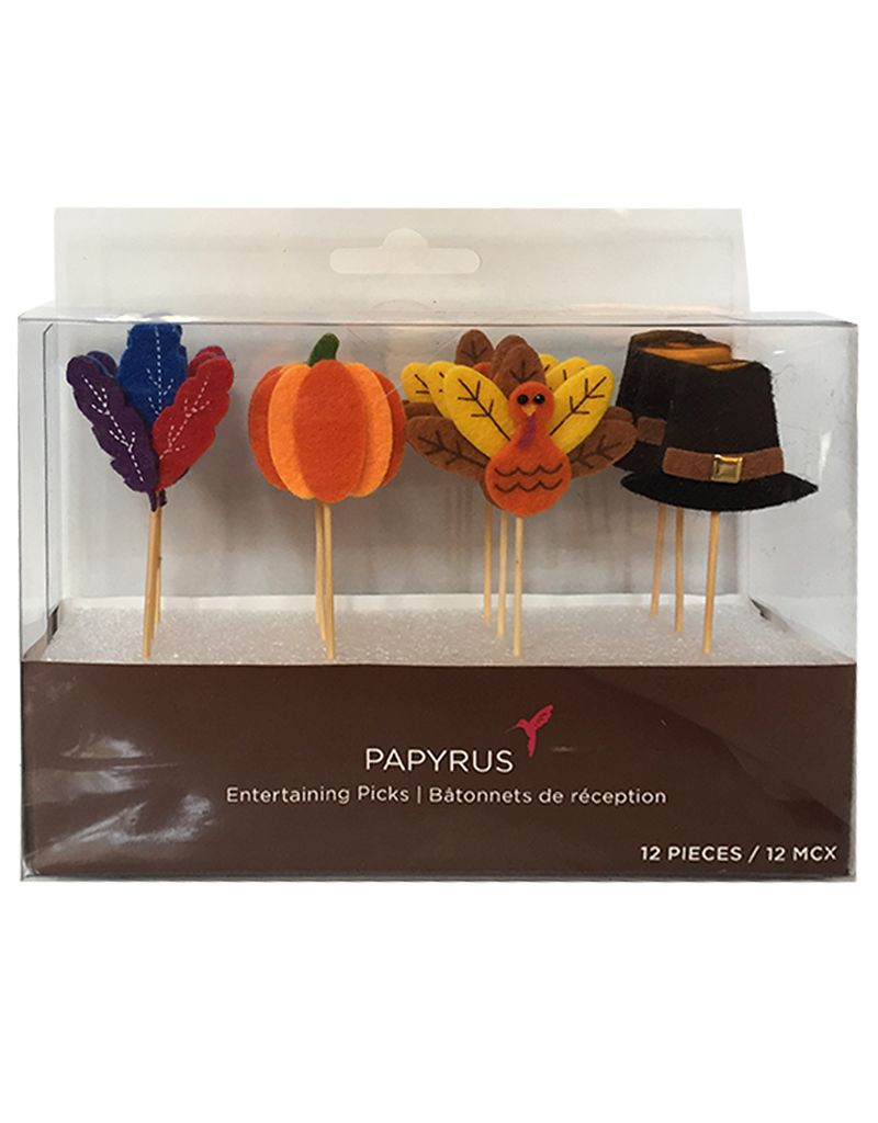 Papyrus Thanksgiving Fall Party Picks 12pc Set w Turkey Fall Icons
