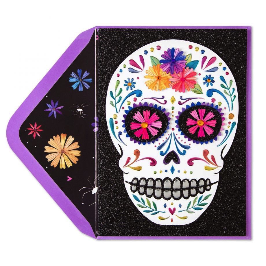 Papyrus greetings halloween day of the dead card colorful skull m4hsunfo