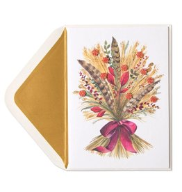 Papyrus Greetings Thanksgiving Card Wheat and Feathers Bunch