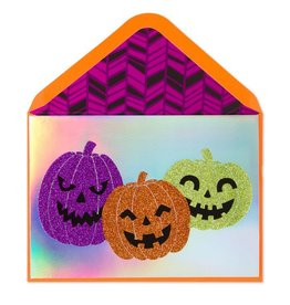 Papyrus Greetings Halloween Card Glittered Pumpkins Trio