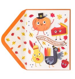 Papyrus Greetings Thanksgiving Card Pumpkin Pie Turkey and Friends