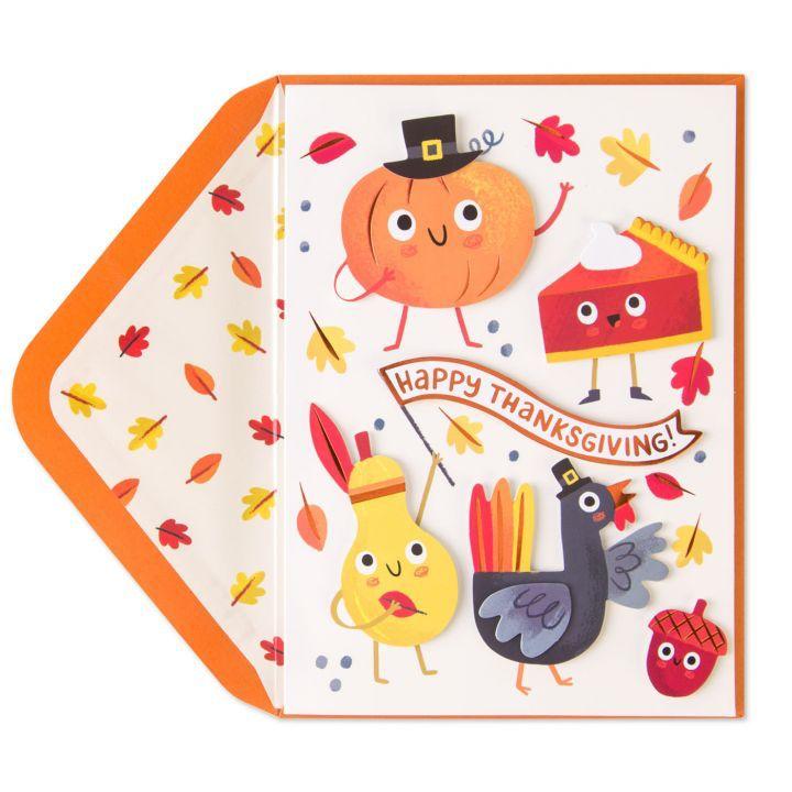 Papyrus greetings thanksgiving card pumpkin pie turkey and friends m4hsunfo