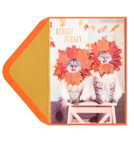 Papyrus Greetings Thanksgiving Card Couple of Hams Cats w Fall Leaves