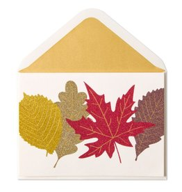 Papyrus Greetings Thanksgiving Card Glittered Fall Leaves