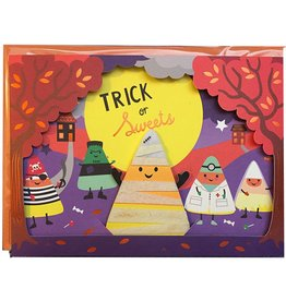 Papyrus Greetings Halloween Card Candy Corn Puppet on Stage