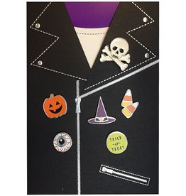 Papyrus Greetings Halloween Card Jacket with Skull Pin