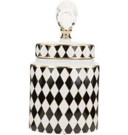Mark Roberts Stylish Home Decor Black White Harlequin Jar w Lid 14in