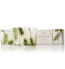 Thymes Frasier Fir 3.75oz Candle Set of 2 Glass Pine Needle Design