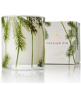 Thymes Frasier Fir Poured Candle 6.5oz Glass w Pine Needle Design