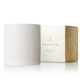 Thymes Frasier Fir Ceramic Gilded Poured Candle Pillar 11oz