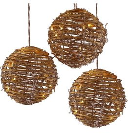 Kurt Adler Rattan 8 inch Ball Light Set - 3 Ball Sting Set w 35 Lights