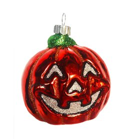 Christopher Radko Shiny Brite Blown Glass Halloween Ornament - Pumpkin