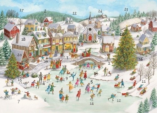 Caspari Christmas Advent Calendar Card - Ice Skating Pond Village