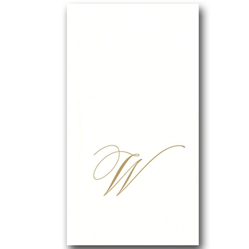 Caspari Paper Linen Airlaid Initial W White Pearl Guest Napkins 24pk