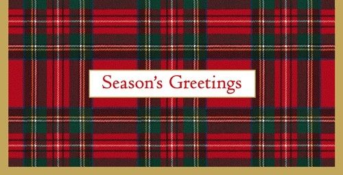 Caspari Christmas Money Cards Pack of 4 Royal Plaid Seasons Greetings